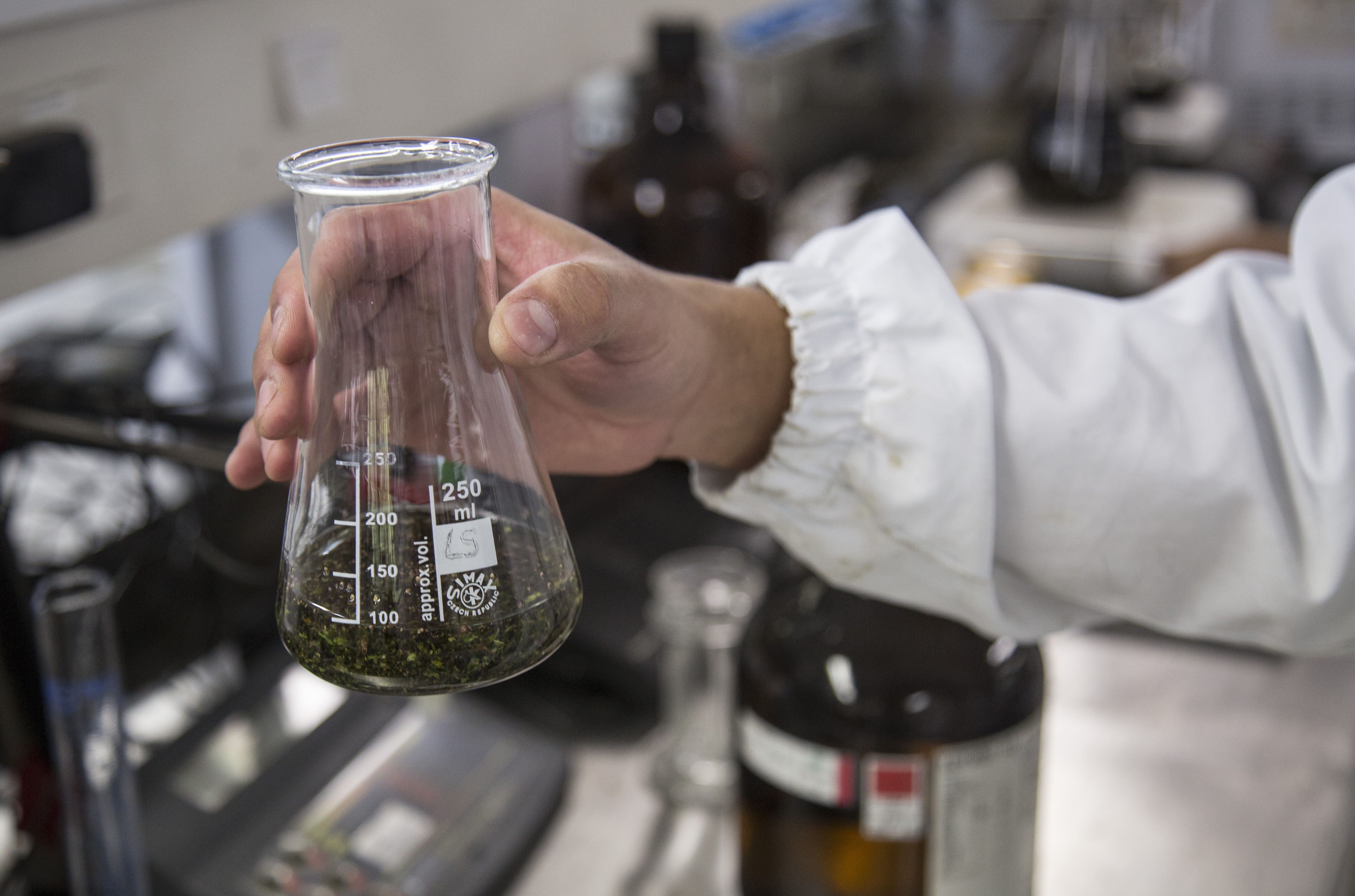 Destilación de cannabis del Grupo Interdisciplinario de Estudios Moleculares de la Universidad de Antioquia. Foto: Juan Fernando Ospina.